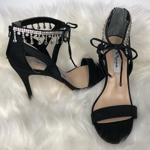 NEW!!! Nina heels with rhinestone ankle accent